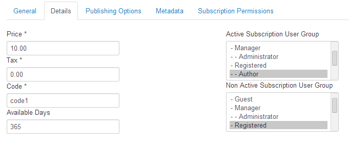 SP Digital Subscriptions tab details